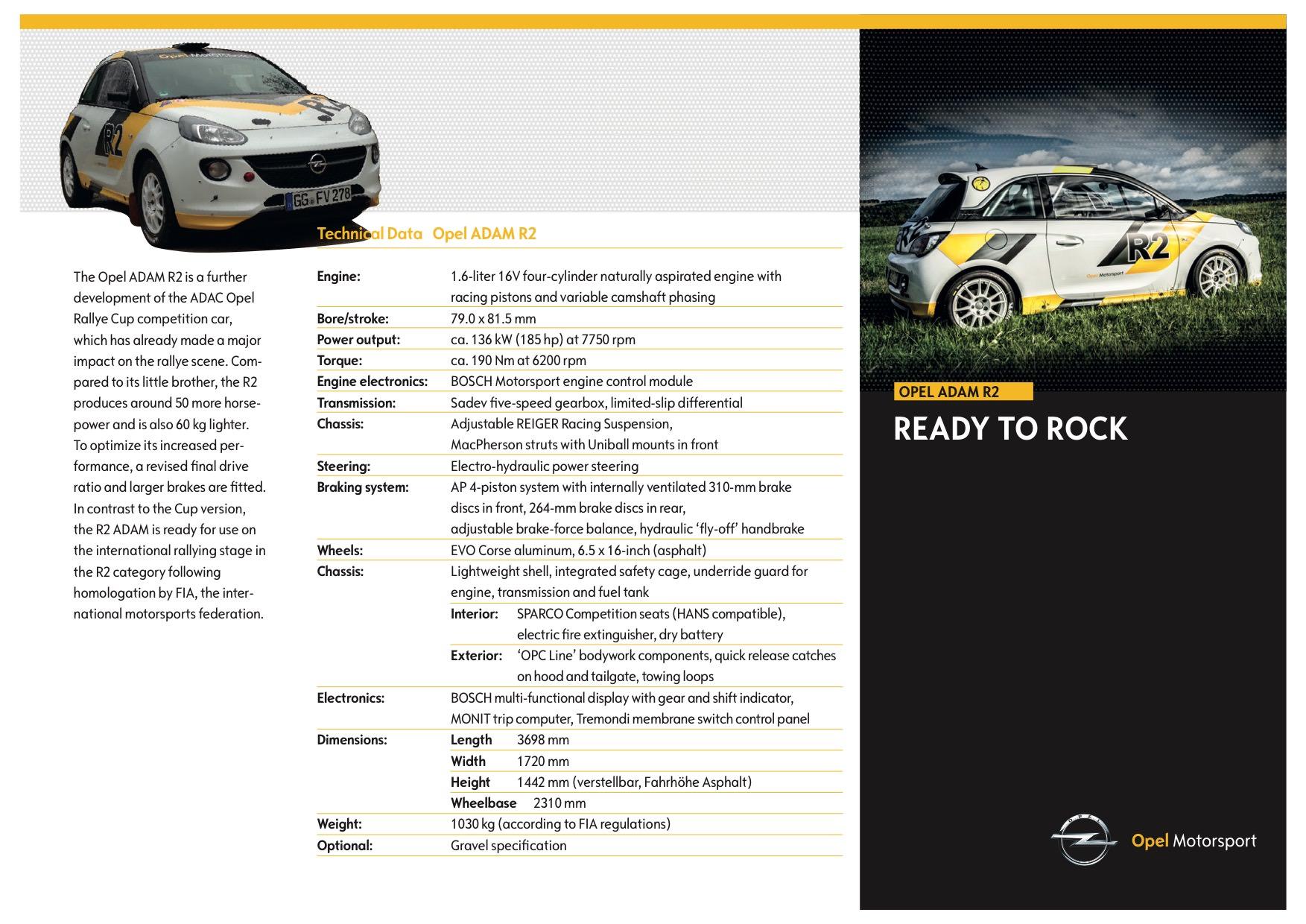 caratteristiche tecniche Opel Adam